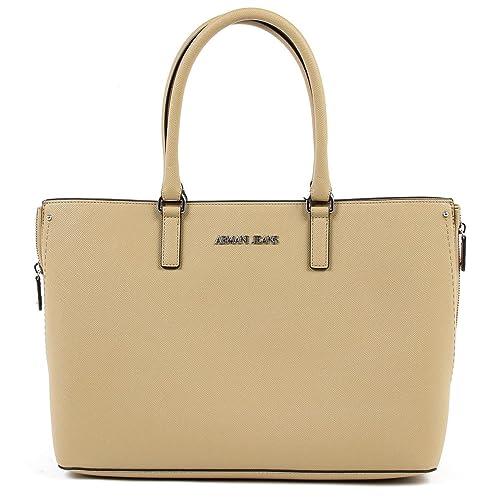 Armani Jeans Mujer 9221667P75611955 Beige Poliéster Bolso Tipo Shopper: Amazon.es: Zapatos y complementos
