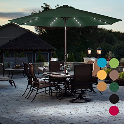 sundale outdoor solar powered 32 led lighted patio umbrella table market umbrella with crank and push - Patio Table With Umbrella