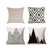 Elviros Set of 4 Decorative Throw Pillow Covers Cotton Linen Cushion Cases Farmhouse Sofa Home Decor 18x18 Inch
