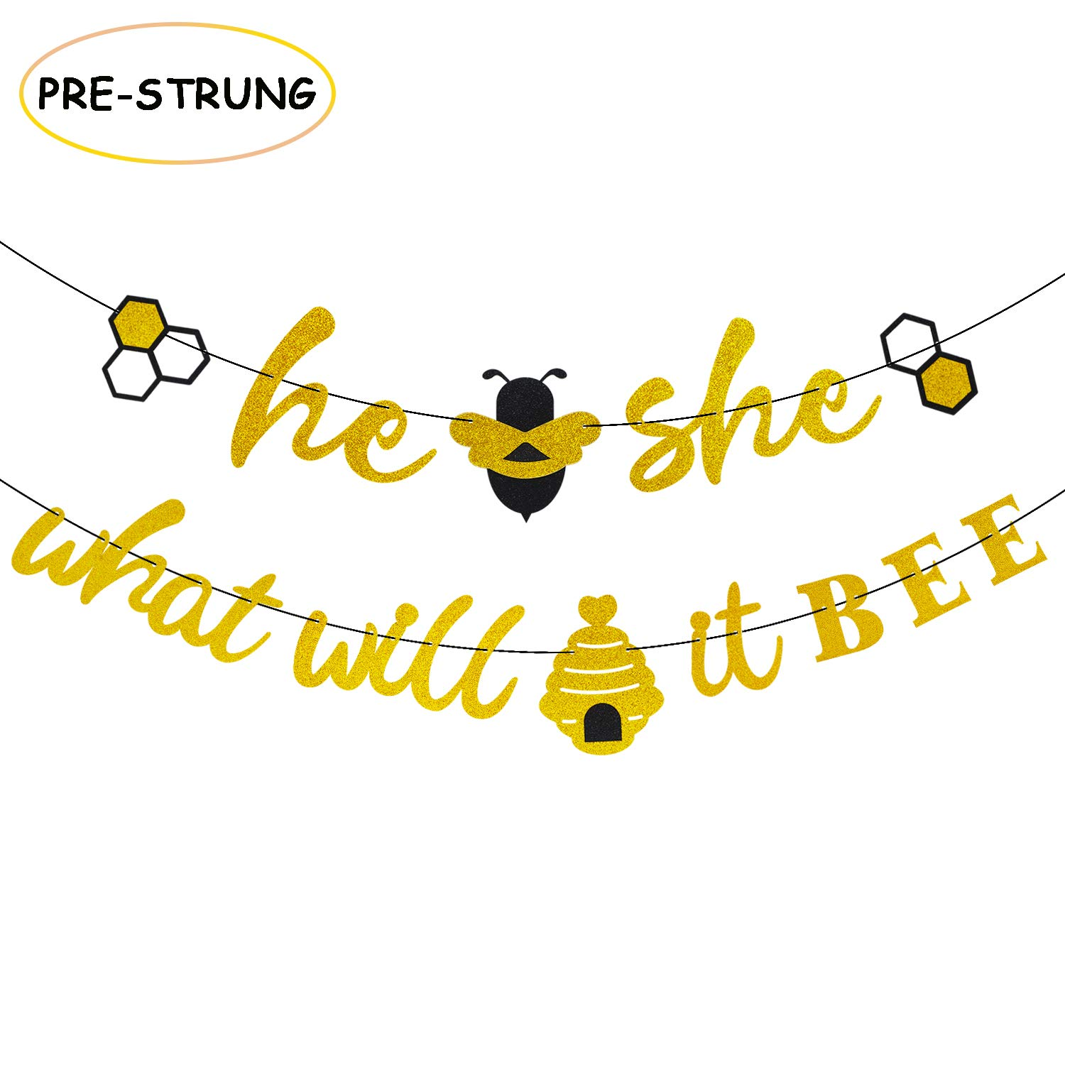 He or She What Will It Bee Banner Gender Reveal Garland with Bee and Beehive Baby Shower Glitter Party Favour Supplies Decorations   B07KTNKBD6
