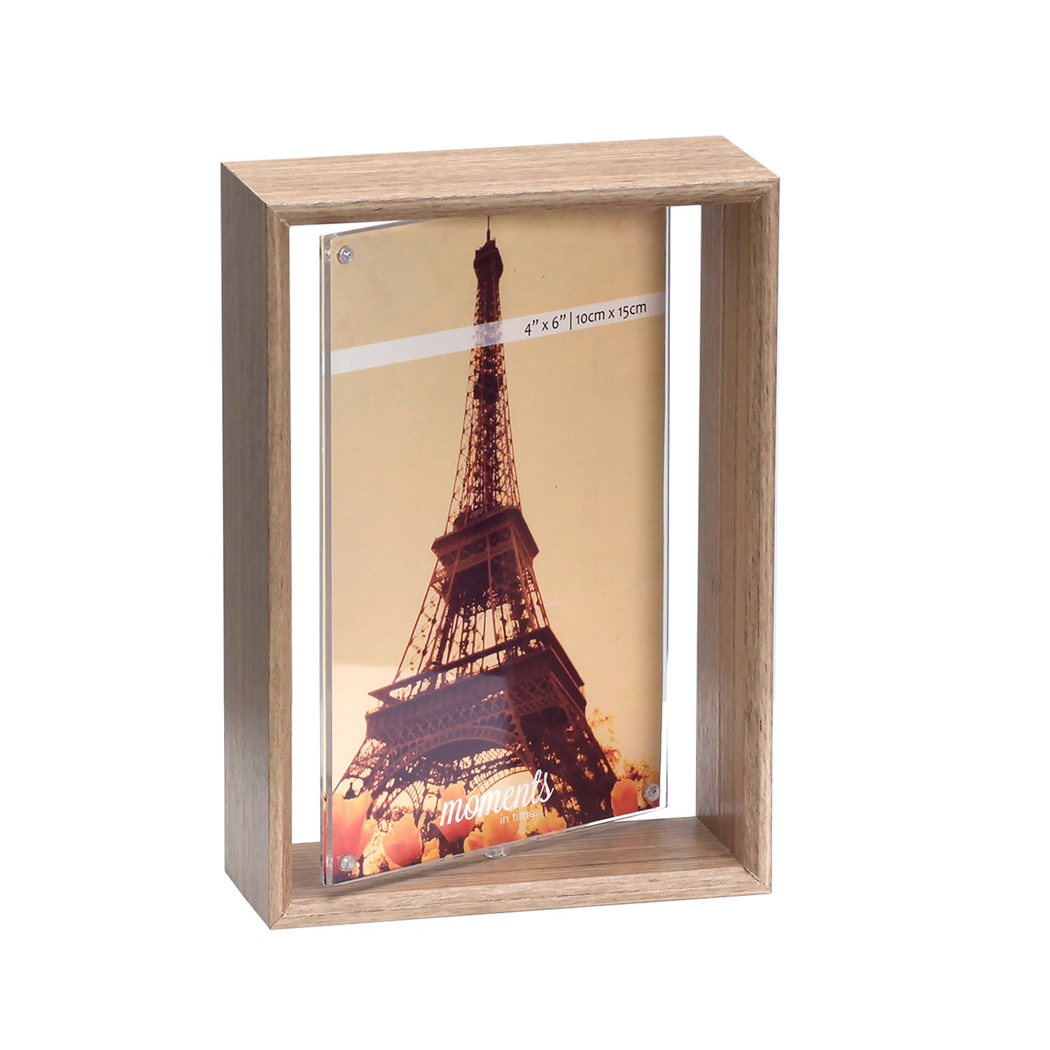 Unique 4''x6'' Rotating 2-Sided Spinner Wood Photo Frame w/ Acrylic Sleeve Picture Display Desktop Decoration by Marketing Innovations Intl