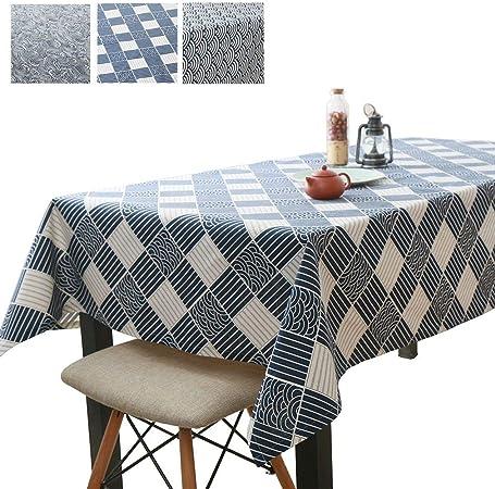 JK Home Mantel Rectangular de Lino y algodón para Mesa de Comedor de Cocina, algodón, Lino, Azul, 90 x 90 cm: Amazon.es: Hogar