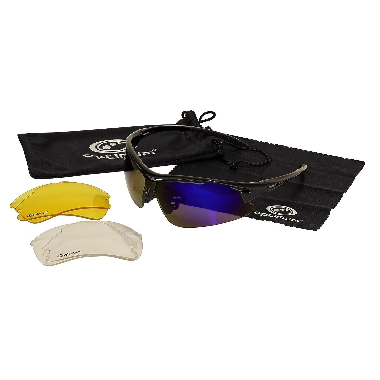 TALLA Talla única. OPTIMUM - Gafas de Sol de Ciclismo para Hombre con Cristales Intercambiables