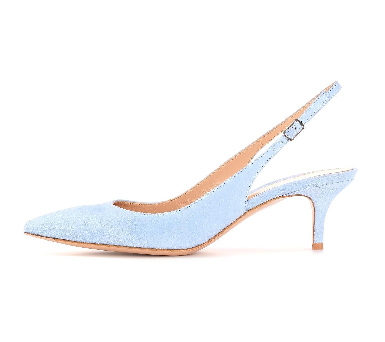 EDEFS Damen Kitten-Heel Slingback Pumps Spitze 6.5cm Mittlerer Absatz Pointed Toe Schuhe  42 EU|Baby Blue