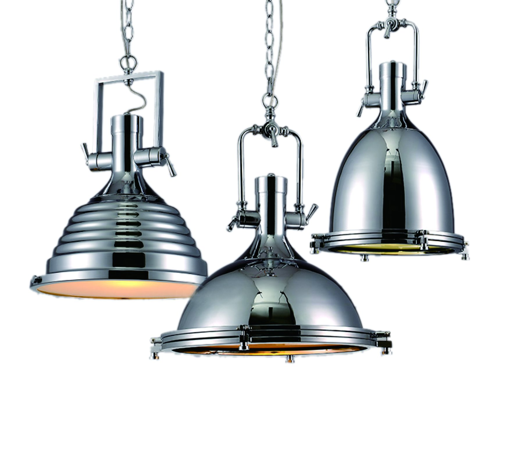 BrightLyf Classic Industrial Vintage Pendant Light Fixture, Chrome, Diameter 18 inches x Height 20 inches Chrome