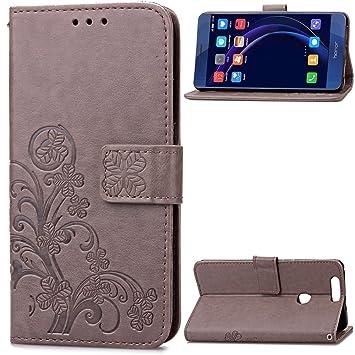 Carcasa para Funda Huawei Honor 8 Carcasa, Cartera Flip Funda Caja de Cuero de la PU Carcasa con Tapa Flip Case TPU Funda (Gray). RF09
