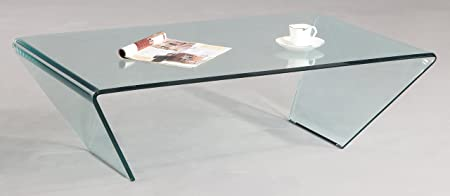 Chintaly Imports Bent Glass Rectangle Cocktail Table, Clear