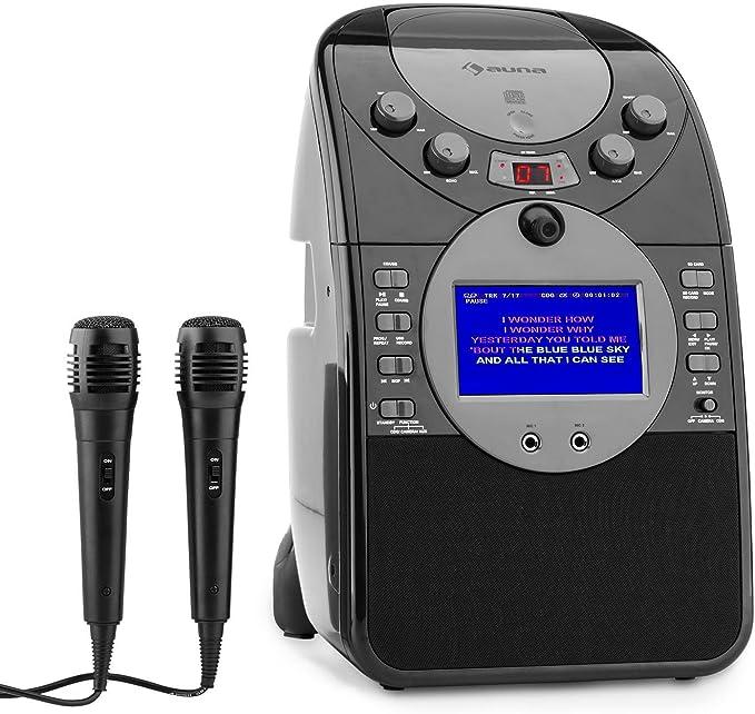 Auna Screenstar – Cadena de Karaoke con cámara, reproductor de CD, puerto USB y para tarjeta SD y 2 micros – pantalla a color de 9 cm: Amazon.es: Electrónica