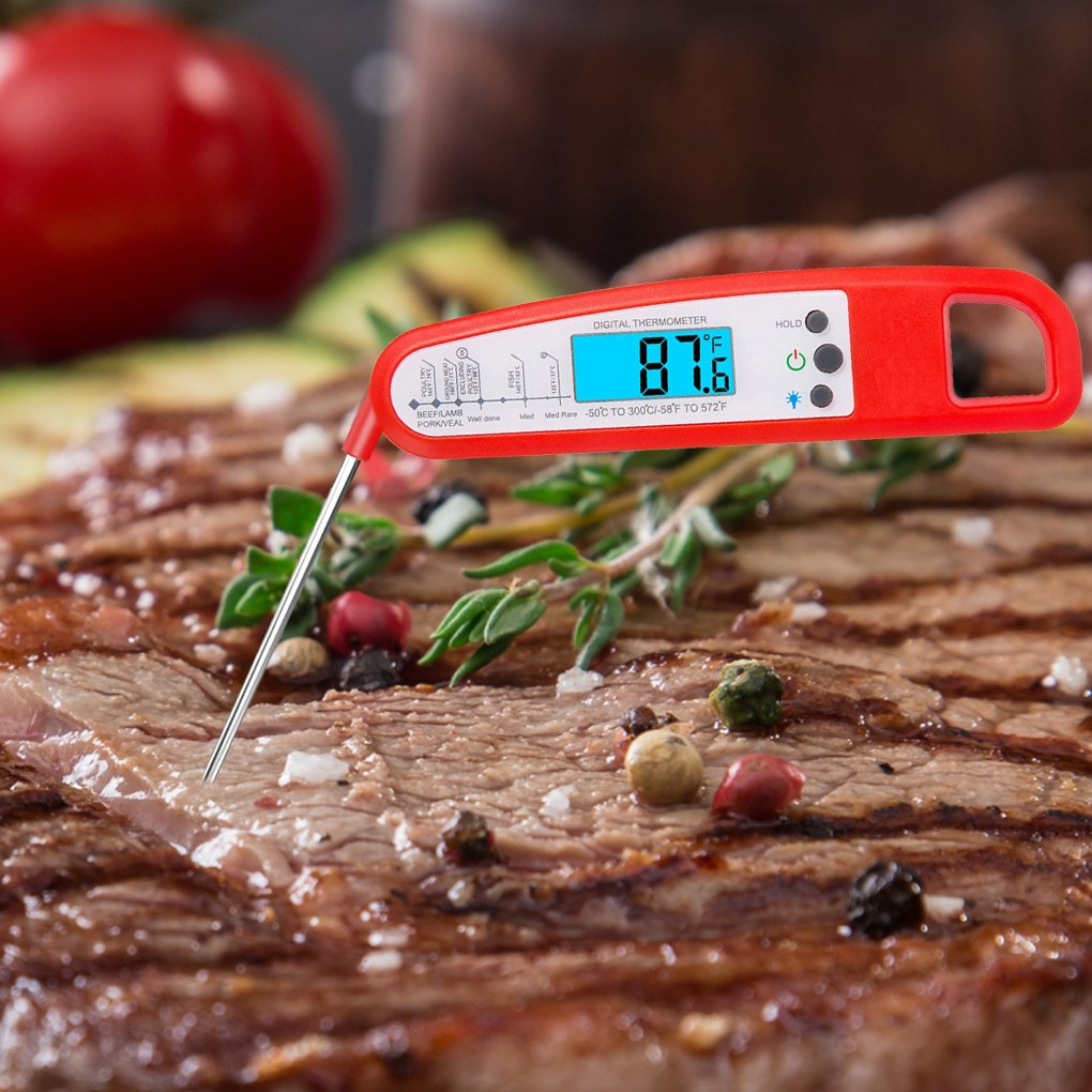 Cooking Thermometers,3 seconds to read,backlit LCD display,10 minutes automatic shutdown with FDA certificate,best for food,meat,barbecue,milk and bathing water,between -50°Between C and 300°C! (Black) vovoir