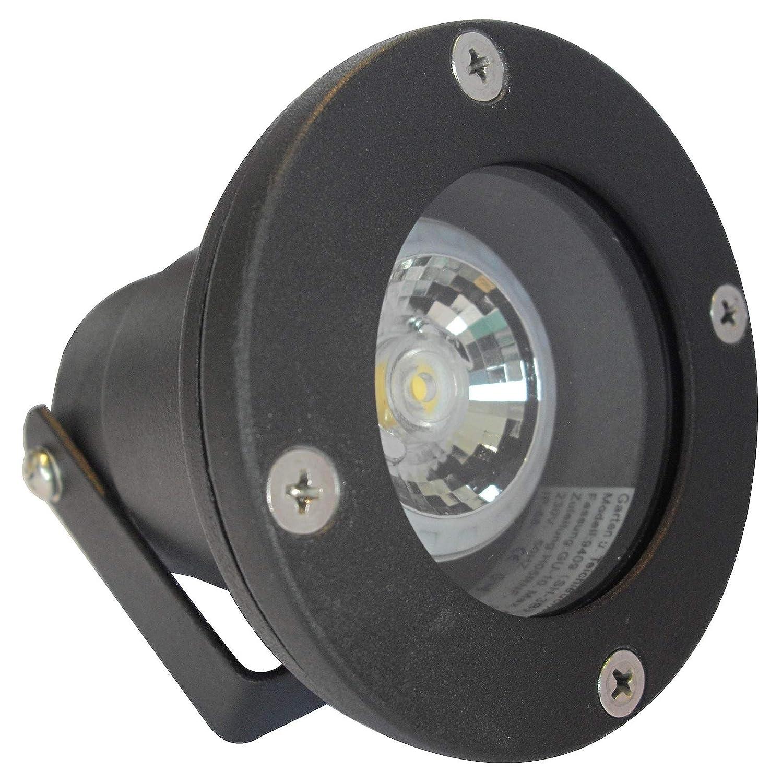 4 Stück IP68 MCOB LED Boden Aufbauleuchte Milan Schwarz 230 Volt 3 Watt Lichtfarbe Warmweiß