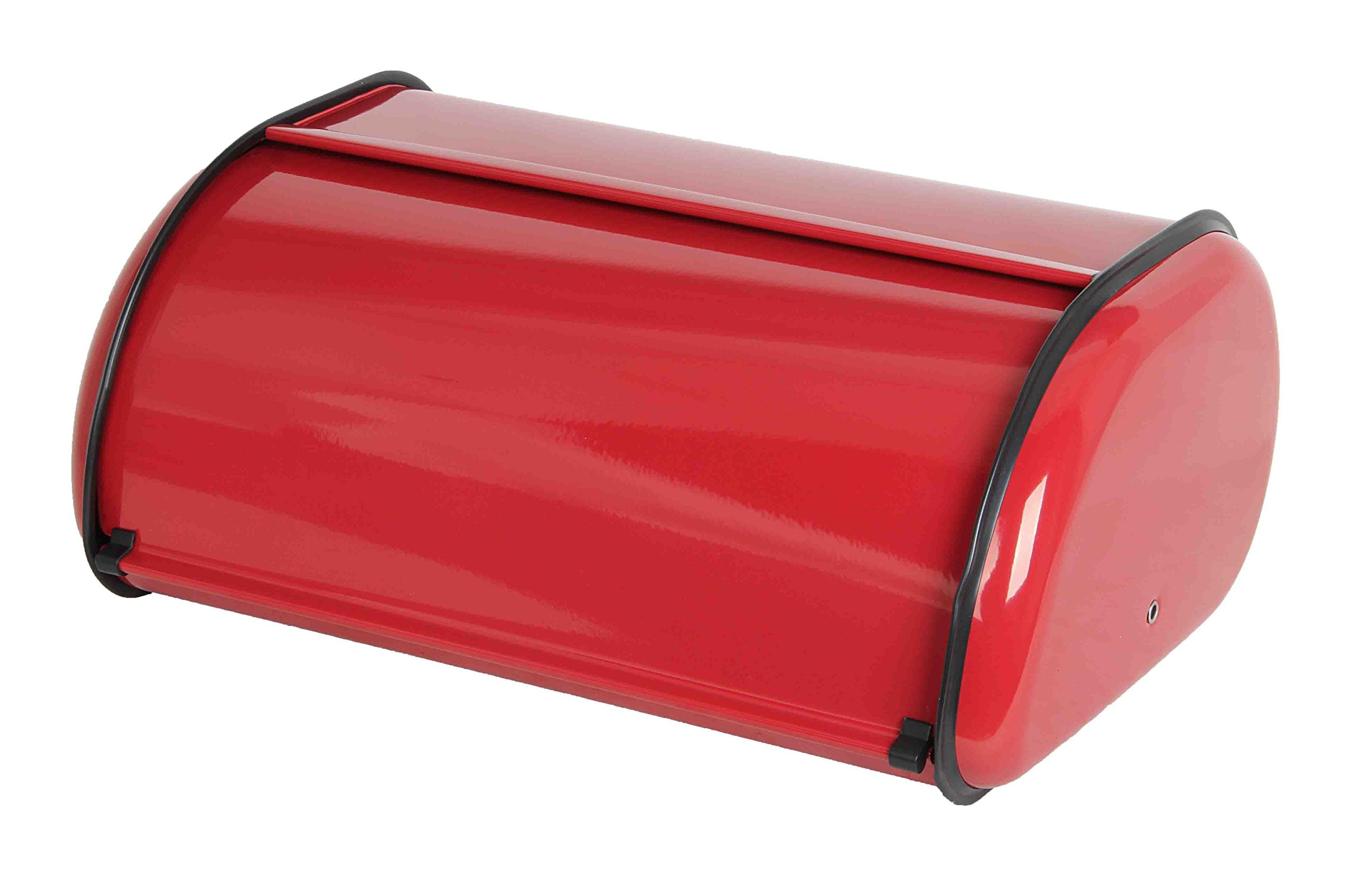 Home Basics Stainless Steel Bread Box with Roll Up Lid, For Easy Kitchen Counter Storage, Bread Bin Holder, Red