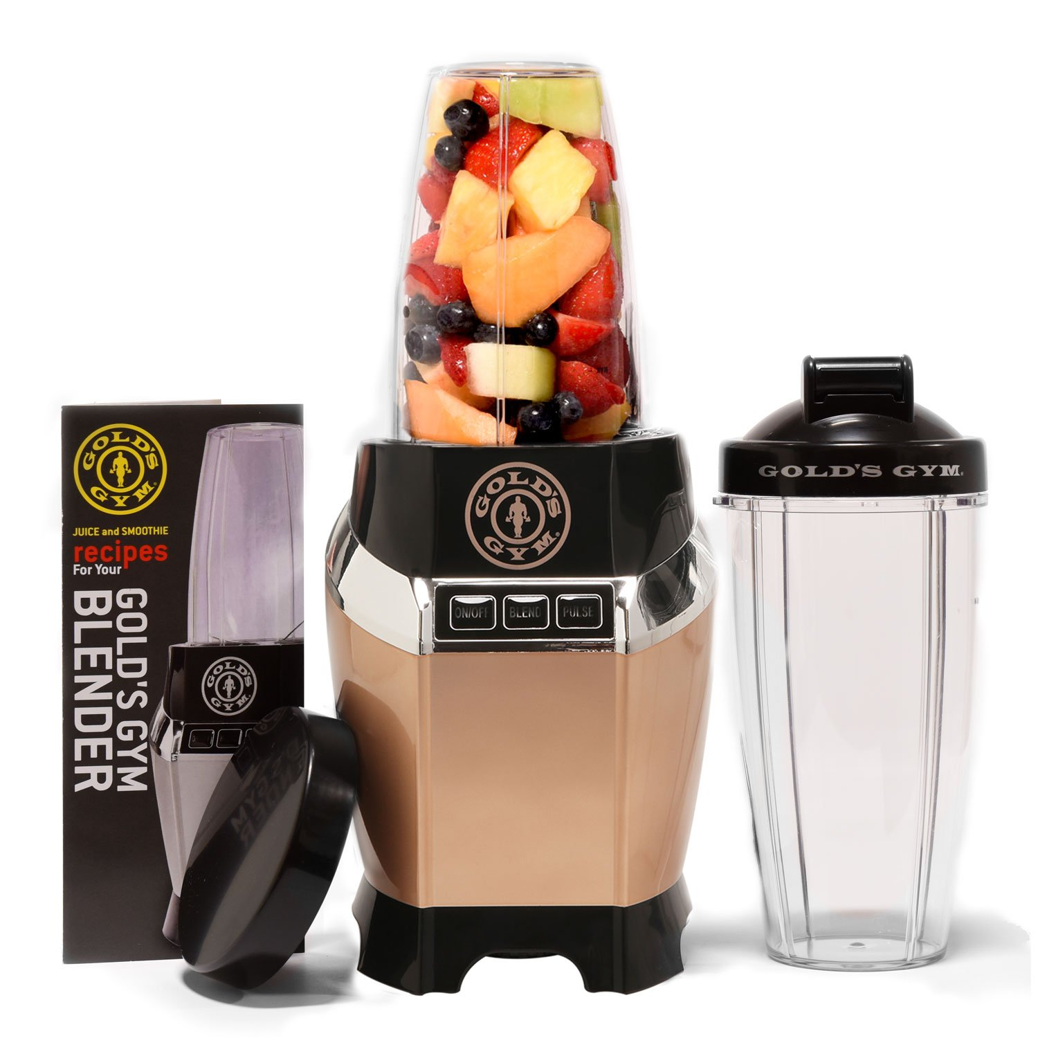 Golds Gym 1000 Watt Personal Power Blender for Shakes and Smoothies - Healthy with 2 Portable Dishwasher Safe Travel Sports Bottles/Cups, Supreme Strength - Gold Gold's Gym GG-BP111G