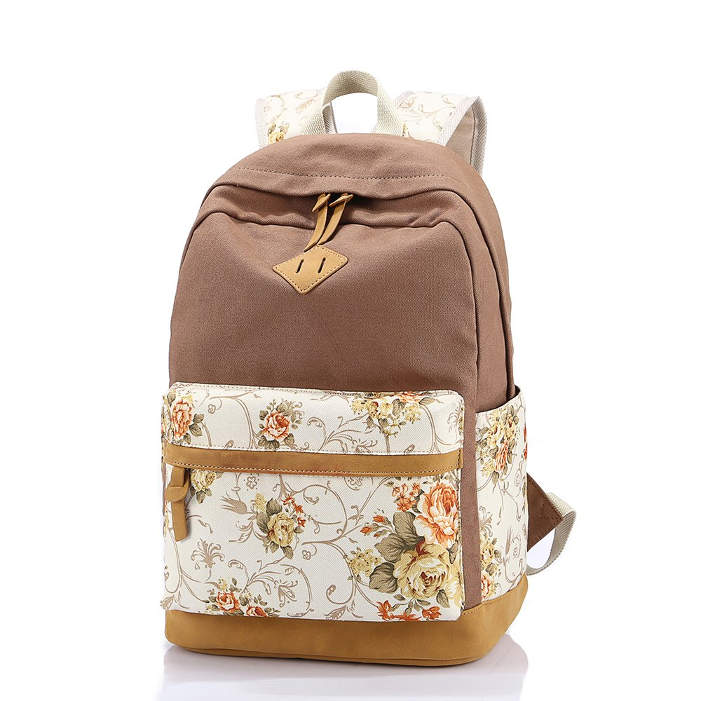 Backpack Purse,3 Pieces Canvas Laptop Backpack Daypack Teens Bookbag Set Lunch Bag Pencil Pouch Purse Student Book Bag with Pen Case and Lunch Handbag for Teen Girls