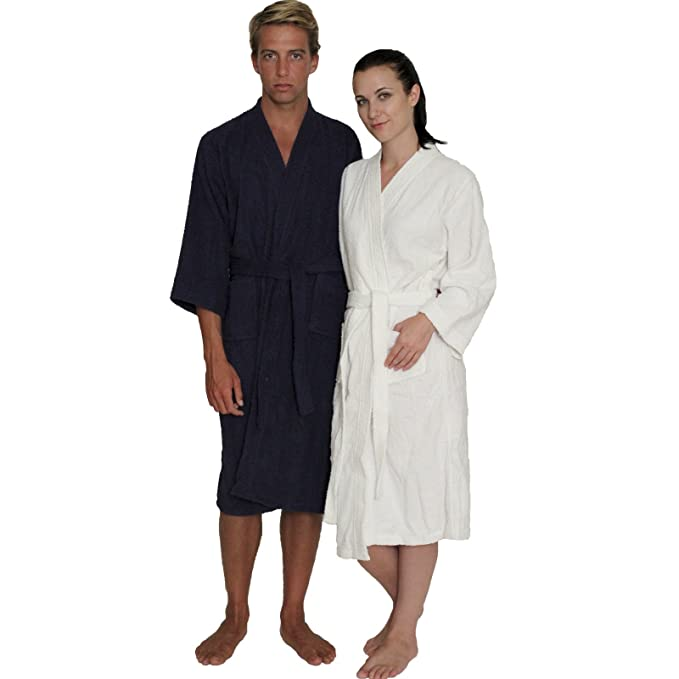 bd8b872d0a NDK New York Women s and Men s Terry Cloth Kimono Bath Robe Unisex 100%  Cotton  Amazon.ca  Clothing   Accessories
