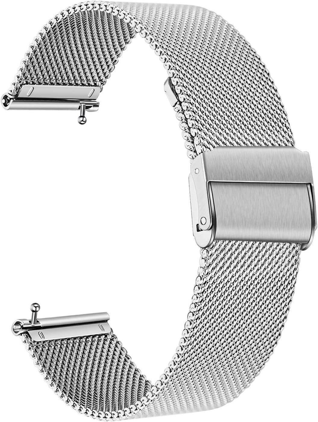 TRUMiRR Compatible con Fitbit Versa/Versa 2 Mujer Hombre Correa de Reloj, Correa de Acero Inoxidable sólida Correa de Metal con Cierre rapido para Fitbit Versa/Versa Lite/Versa Special Edition