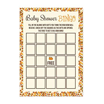 Pumpkin Baby Shower Bingo Cards 20 Count