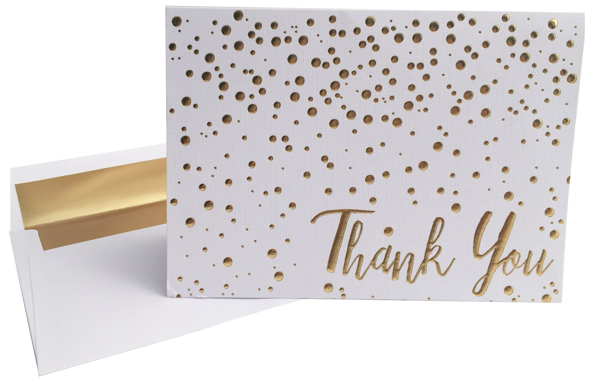 Thank You Cards Confetti 20 Pack Of 5x7 Gold Foil Embossed