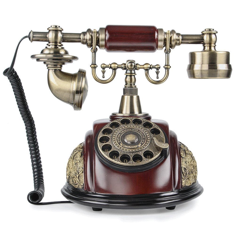 TelPal Retro Vintage Antique Old Style Rotary Dial Desk Telephone Phone Home Living Room Decor