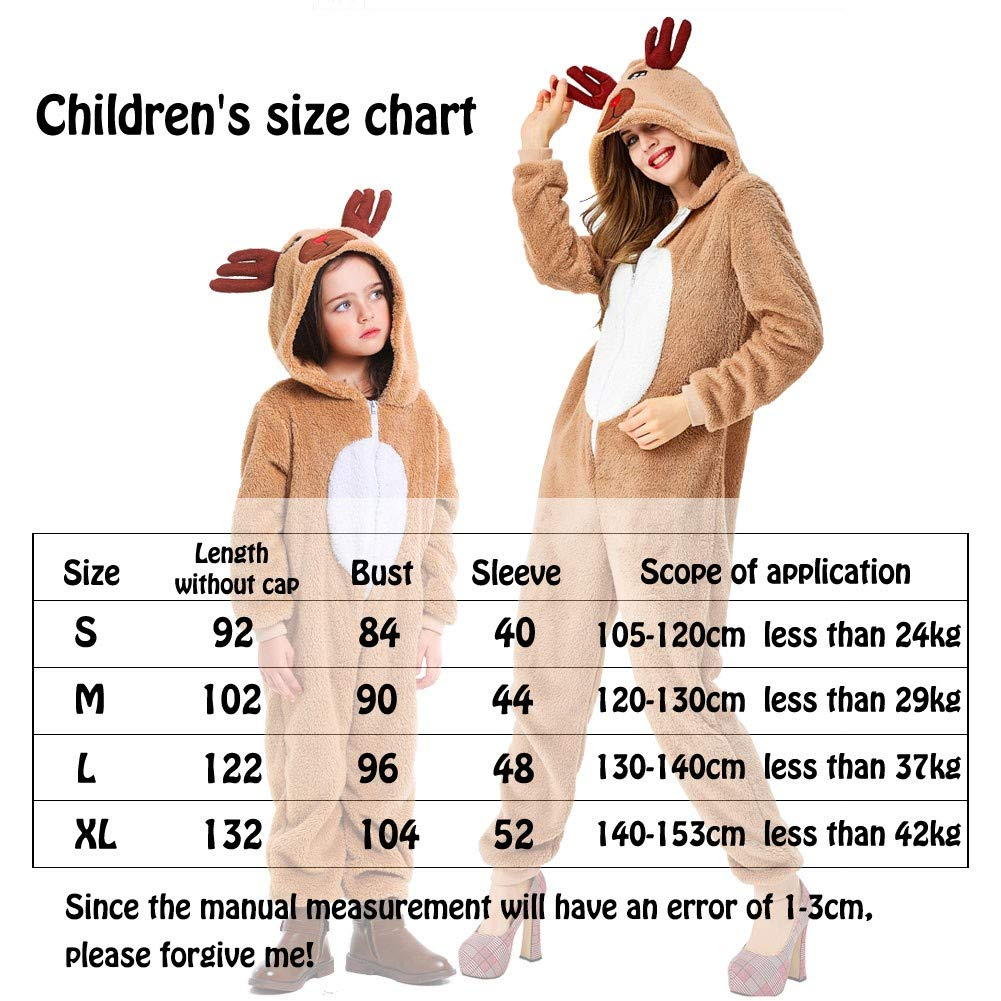 YBSLEEP Weihnachtskost/üm Coral Fleece Cute Reindeer Personality Onesies Eltern-Kind-Pyjama Khaki