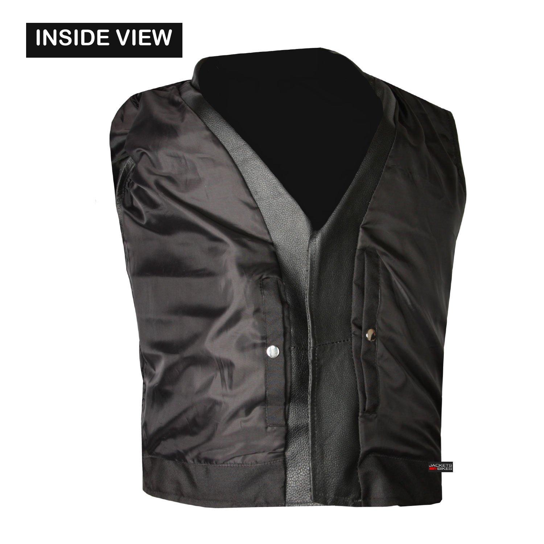 Mens Classic Leather Motorcycle Biker Concealed Carry Vintage Vest Black L