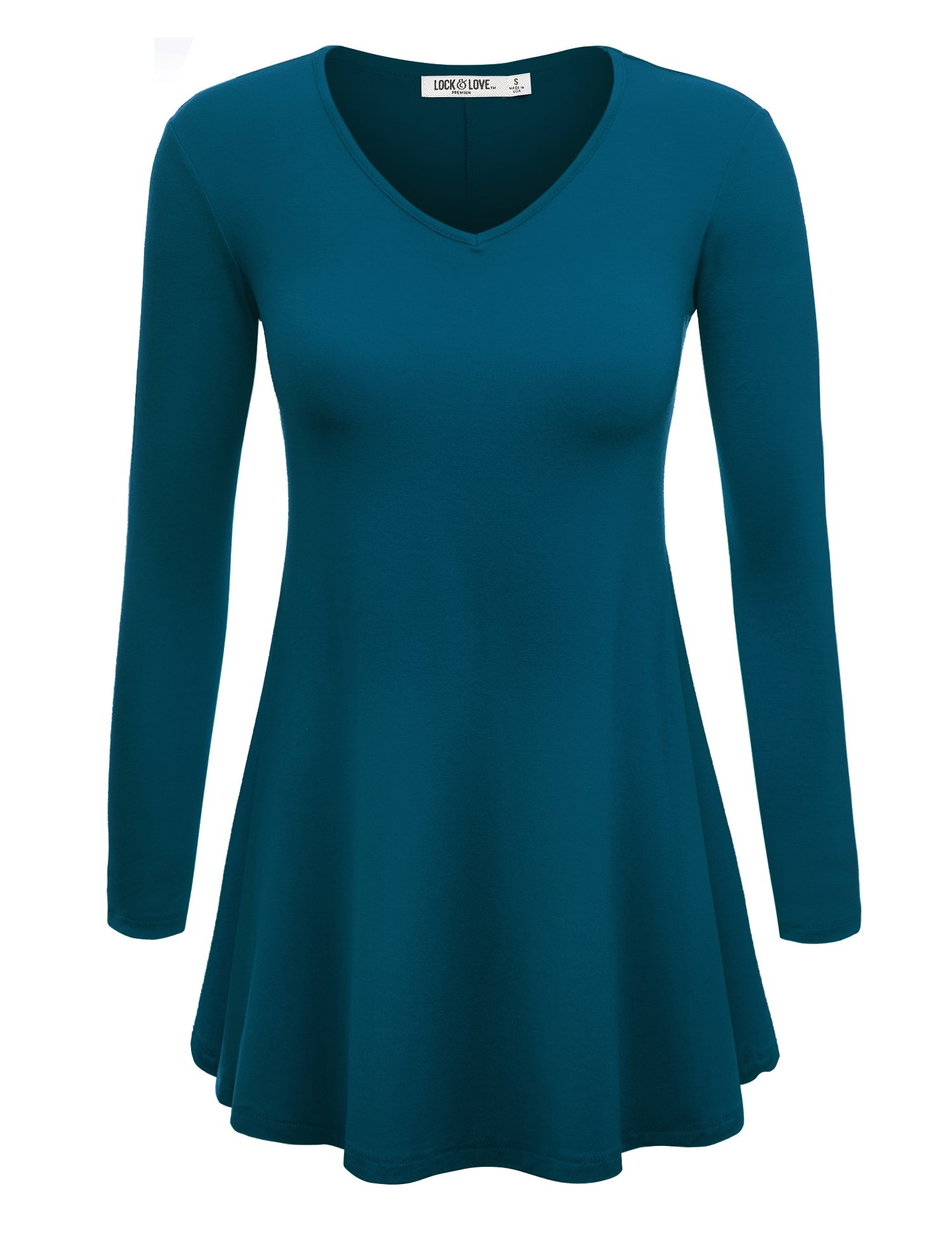WT768 Womens Long Sleeve V Neck Trapeze Tunic M TEAL