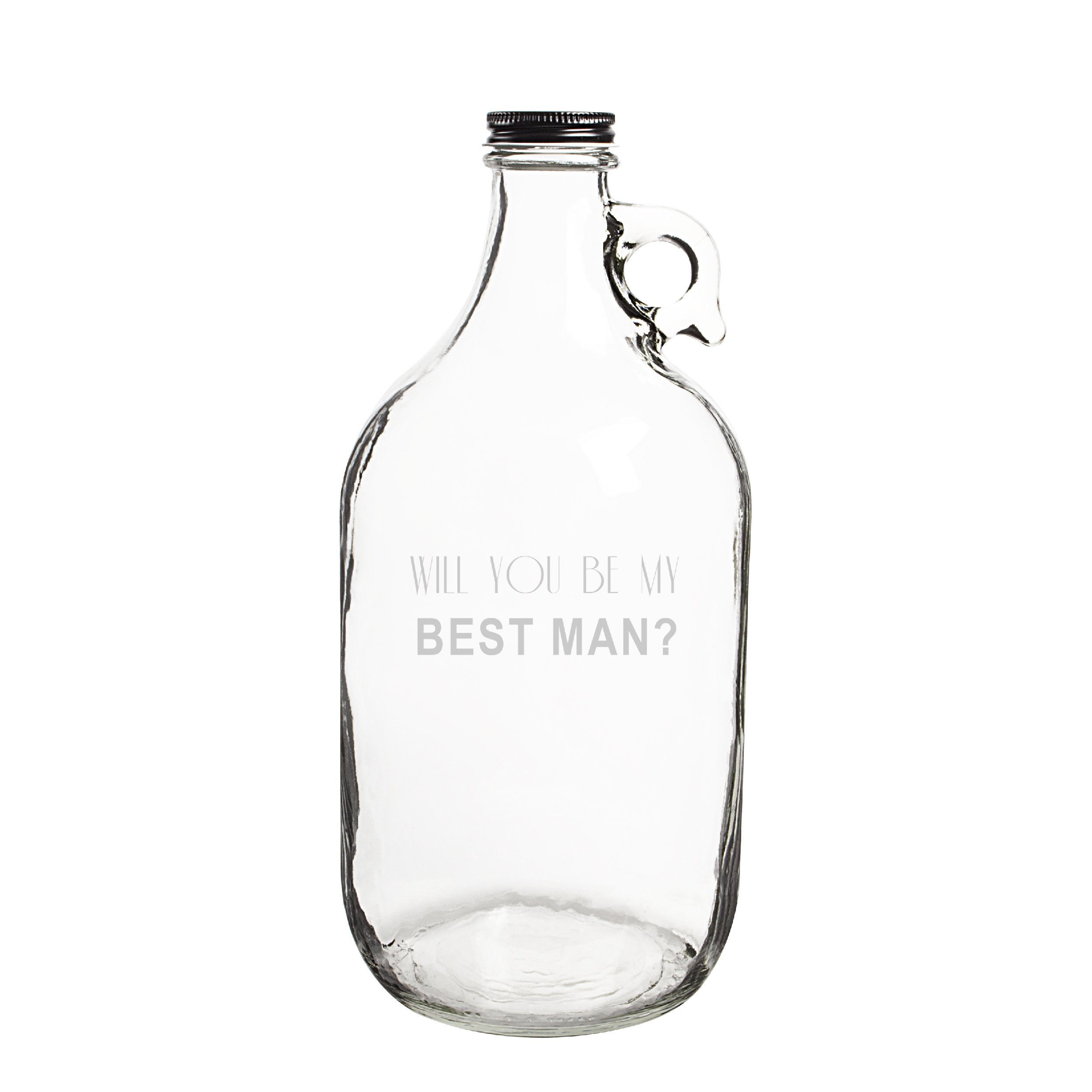 Cathy's Concepts Will You Be My Best Man? Craft Beer Growler, Clear