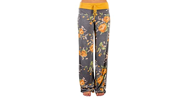 5ae275e30e Elsofer Women s Pajama Lounge Pants Floral Print Comfy Casual Stretch  Palazzo Drawstring Pj Bottoms Pants Wide Leg (Tag XXL (US 12)
