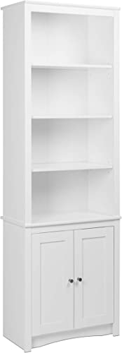 Prepac Tall 6 Shelf Bookcase with 2 Shaker Doors in White