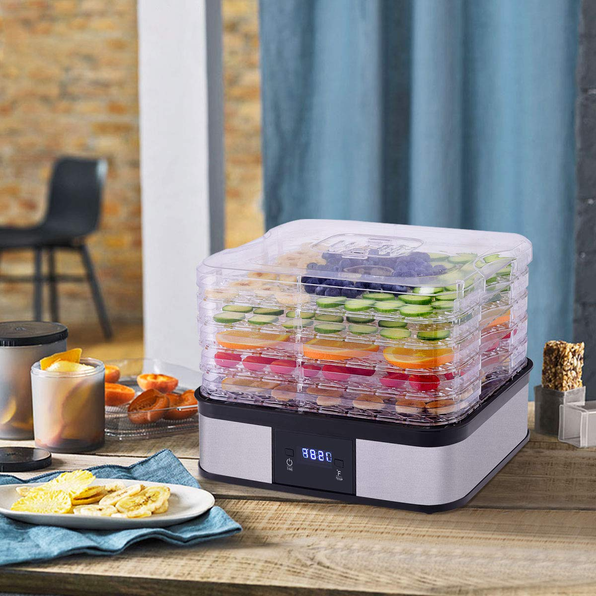 HAPPYGRILL Food Dehydrator Machine, Best Electric 5-Tier Home Food Meat Beef Jerky Fruit Vegetable Dehydrator Dryer Preserver, Professional 360 Degree Hot Air Circulation System, Easy to Clean(Black) by HAPPYGRILL (Image #2)