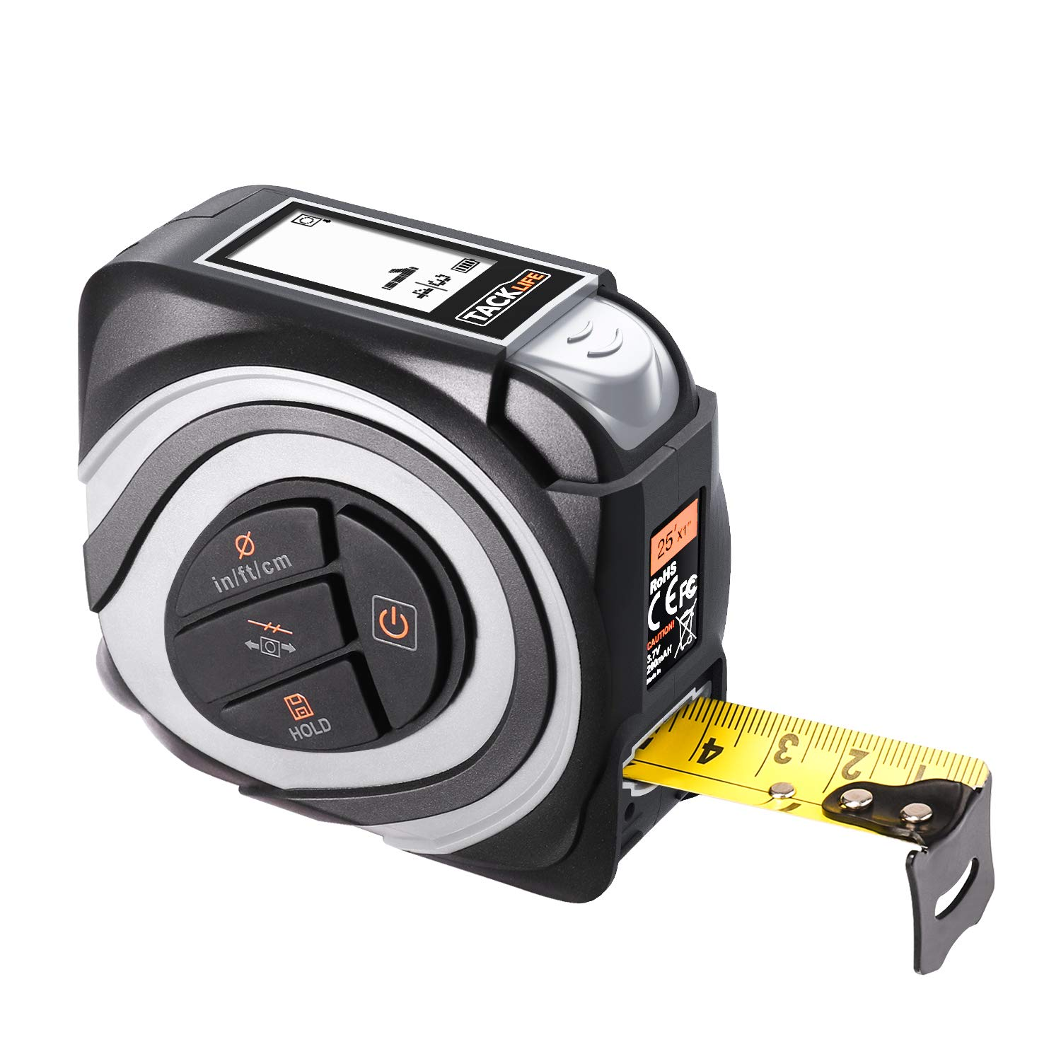Digital Tape Measure 16Ft M/In/Ft Rechargeable with Large Backlit LCD, Auto-lock, 10 Data Store, Rezero Button, Recalibration, Relative measurement, USB Charging Cable Included - TACKLIFE MDT01