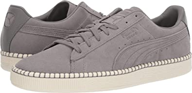 fb8b9729fc4 PUMA Unisex Suede Classic Blanket Stitch Charcoal Gray/Whisper White 11 M US