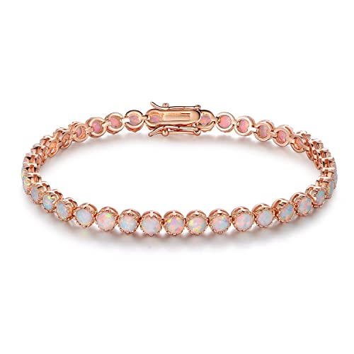 Barzel White Rhodium, Gold Rose Gold Plated Opal Created Crown Tennis Bracelet