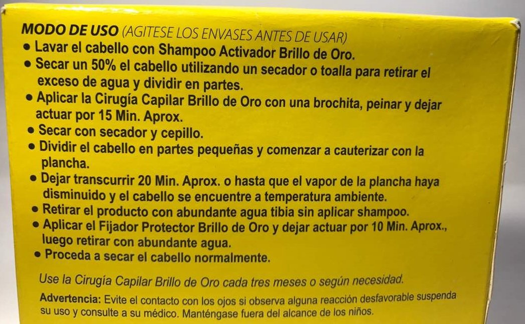 Cirugia Capilar Brillo De Oro, Cabello Liso Y Con Brillo 2 Oz (3 pasos)