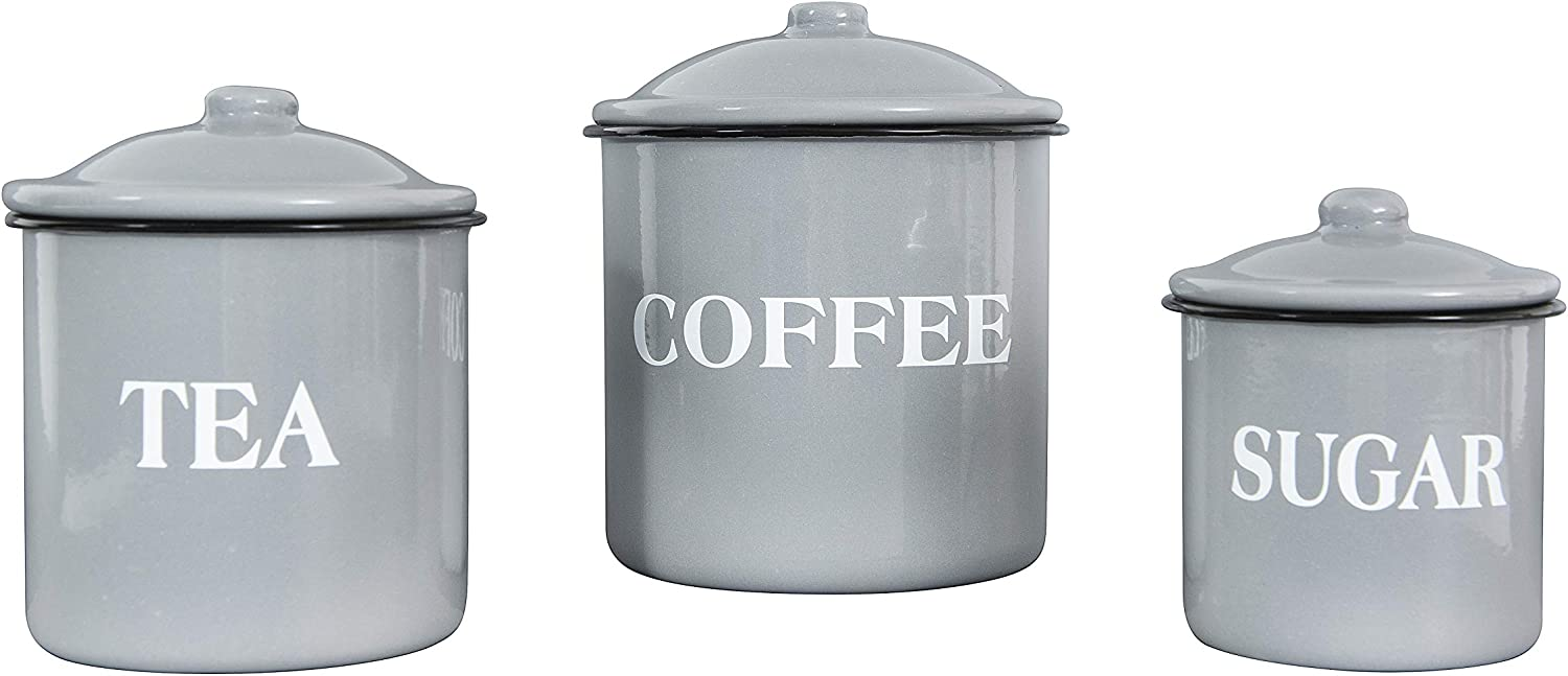 Creative Co-Op Metal Containers with Lids, Coffee, Tea, Sugar (Set of 3 Sizes/Designs) Food Storage, Grey