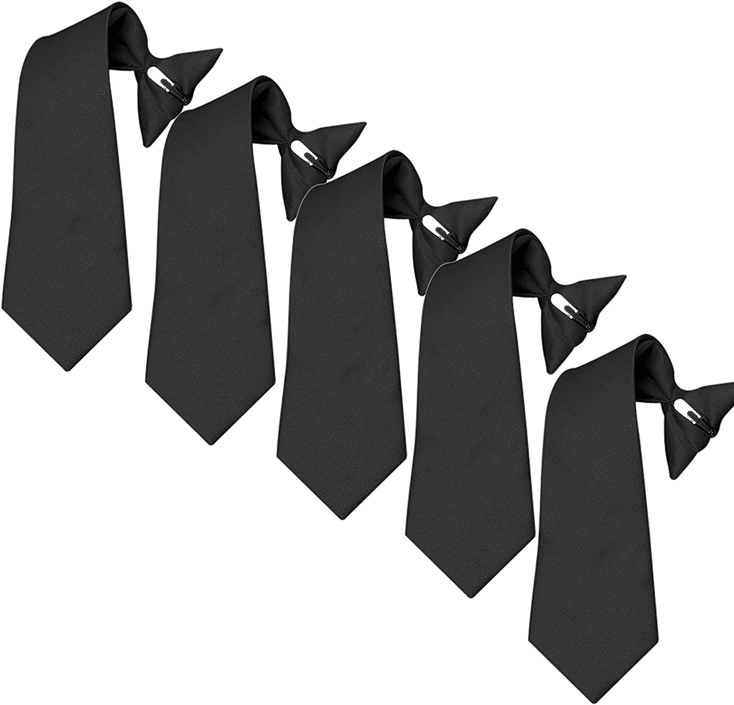 Mens Clip On Ties 5 PK Pre-tied Clip-on Ties for Police Security Guard School
