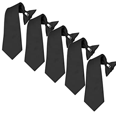 ebc635992dda Mens Clip On Ties 5 PK Pre-tied Clip-on Ties for Police Security Guard  School (Black) at Amazon Men's Clothing store: