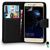 Huawei P10 LITE Case Premium Leather BLACK Wallet Flip Case Cover Pouch with Mini Touch Stylus Pen Green Cap Screen Protector & Polishing Cloth