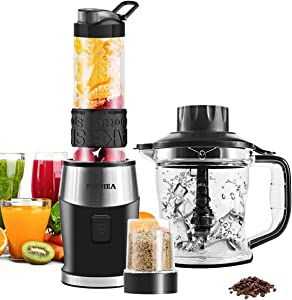 High-Speed Personal Blender for Shakes and Smoothies,FOCHEA 700-Watt 5-in-1 Smoothie Shake Blender for Blender/Chopper/Grinder/Food Processor/Ice Crusher With 20 oz. Travel Cup & 10 oz. Cup, BPA-Free