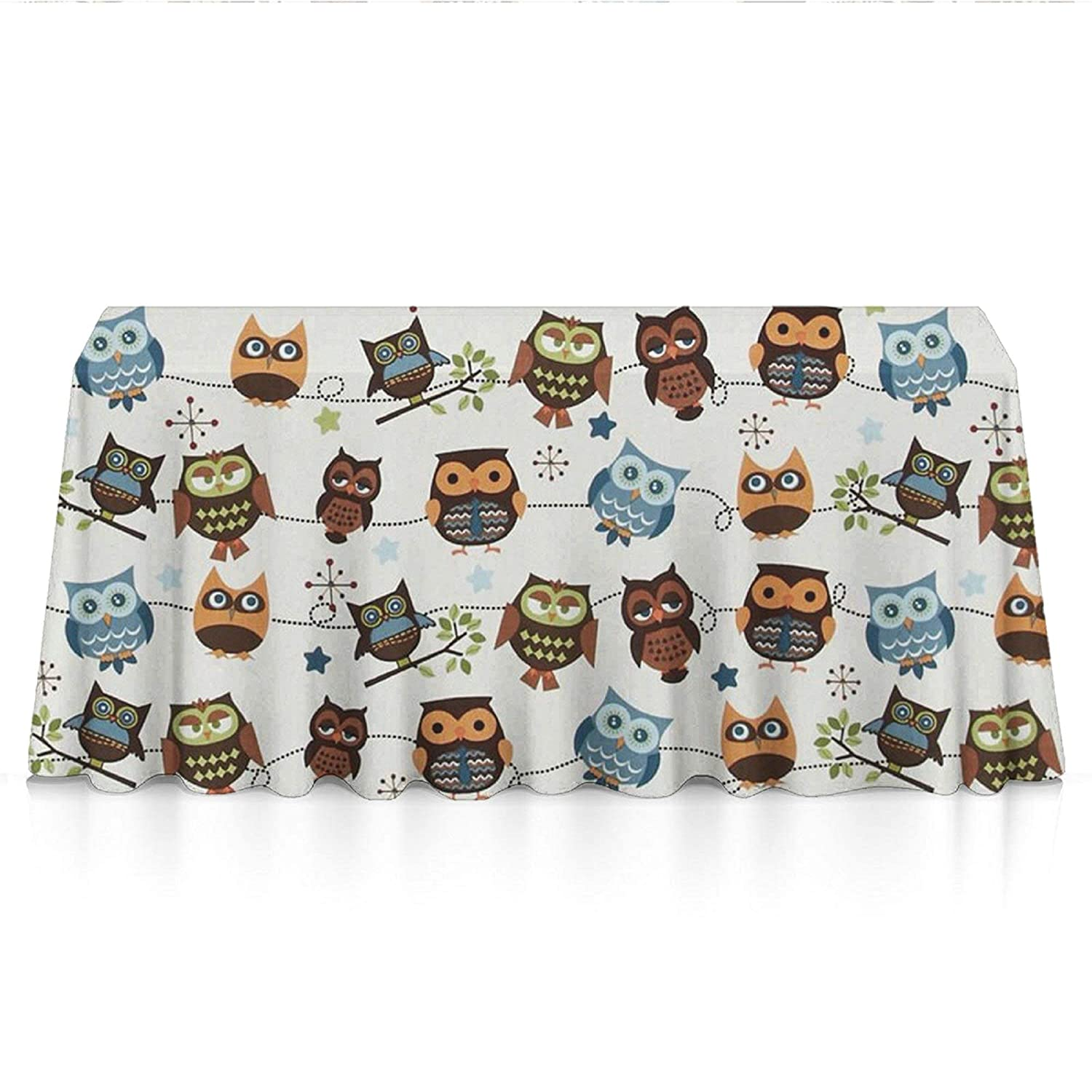 Rectangle Tablecloth - 60x90 Inch - Cute Owl Patterns Rectangular Table Cloth in Washable Polyester - Great for Buffet Table, Parties, Holiday Dinner, Wedding & More