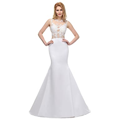 7dfb6d6a7bf Vickyben Sexy Transparent Lace Applique Mermaid Wedding Dress Bridal Gown   Amazon.co.uk  Clothing