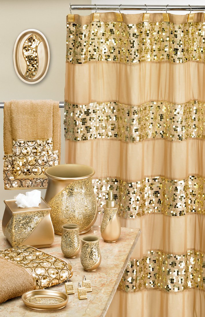 Gold Stone Luxury Royal Bathroom Sinatra Shower Curtain Champagne Top Quality