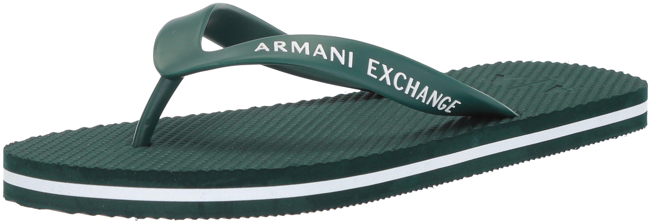 A|X Armani Exchange Men's Solid Flip Flop, Botanical Green, 8 Medium US