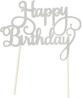 PuTwo 1 Zählen Handgefertigt Happy Birthday Kuchen Dekorieren Birthday Cake  Toppers Party Supplies U2013 Silber
