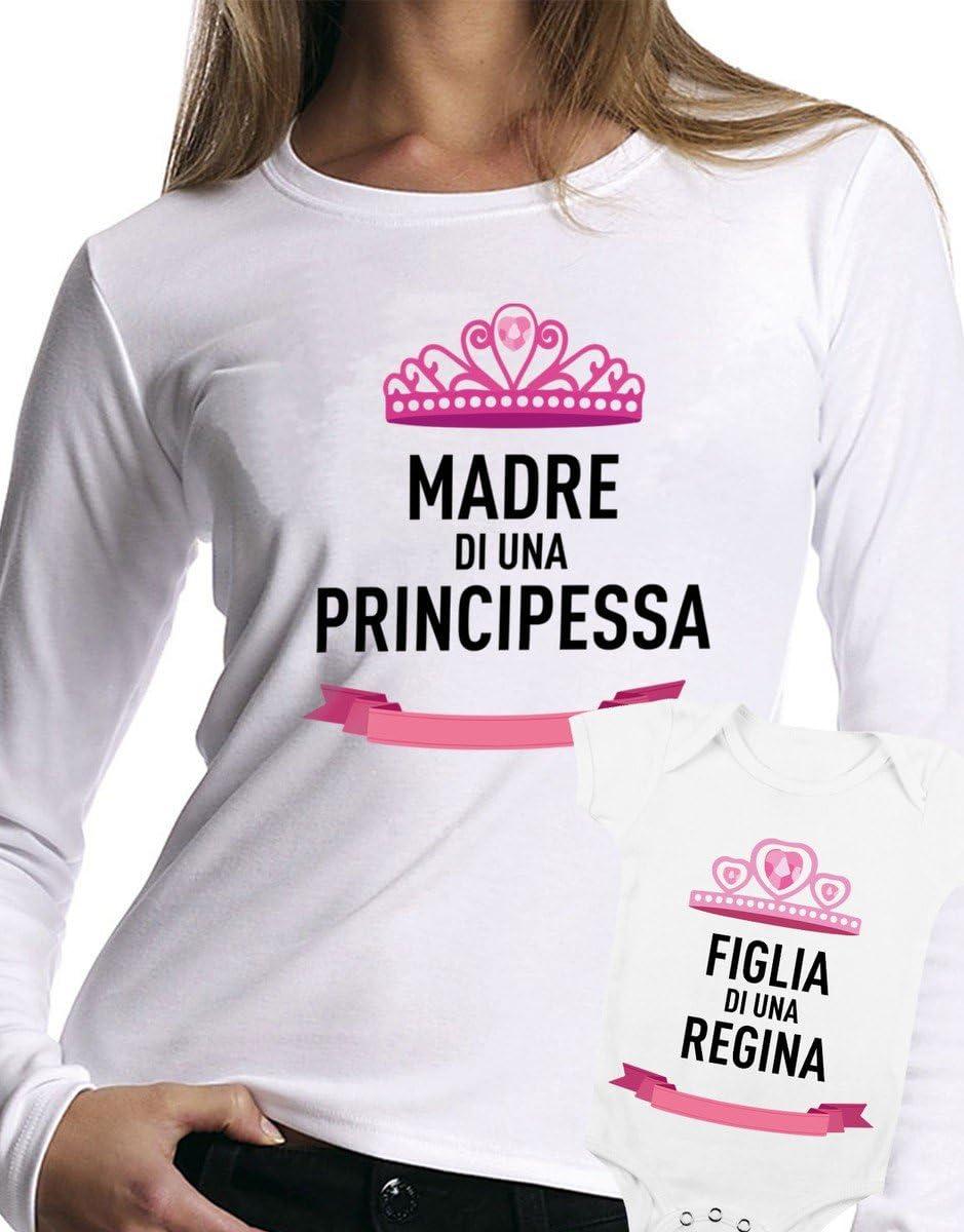 Camiseta Manga Larga y Body el día de la Madre – Base de Una Princesa, Hija de una Reina, Love – Todas Las Tallas Hombre Camiseta by tshirteria Mujer, Bianco, Medium Donna (