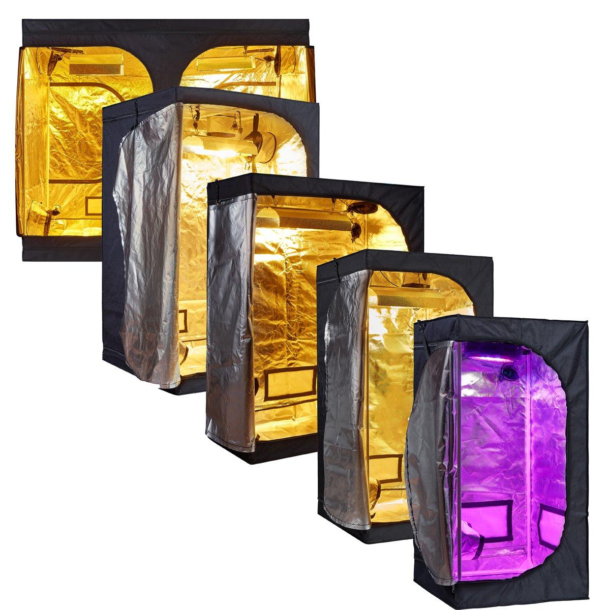 TopoLite Full Range Multiple Sized 24″x24″x48″ 32″x32″x63″ 48″x24″x60″ 48″×48″×80″ 96″x48″x80″ 120″X120″X80″ Indoor Grow Tent Room 600D Mylar Hydroponic Growing Plant w/Plastic Corner