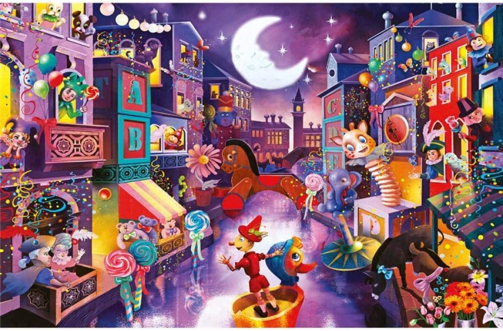 BLZQA Rompecabezas para Adultos 1000 Piezas 70x50 cm (Ciudad de Marionetas) Adulto Rompecabezas DIY Kit De Juguete De Cartón Decoración para El Hogar Puzzle Arte