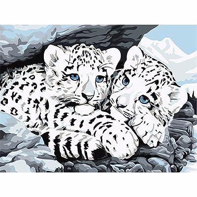 Bricolage peinture huile par numéro de peinture numérique,Kit,Suite pour les enfants, les étudiants, les adultes débutants avec Pinceaux et pigments acrylique,l'Art de mur blanc sans cadre Artwork-