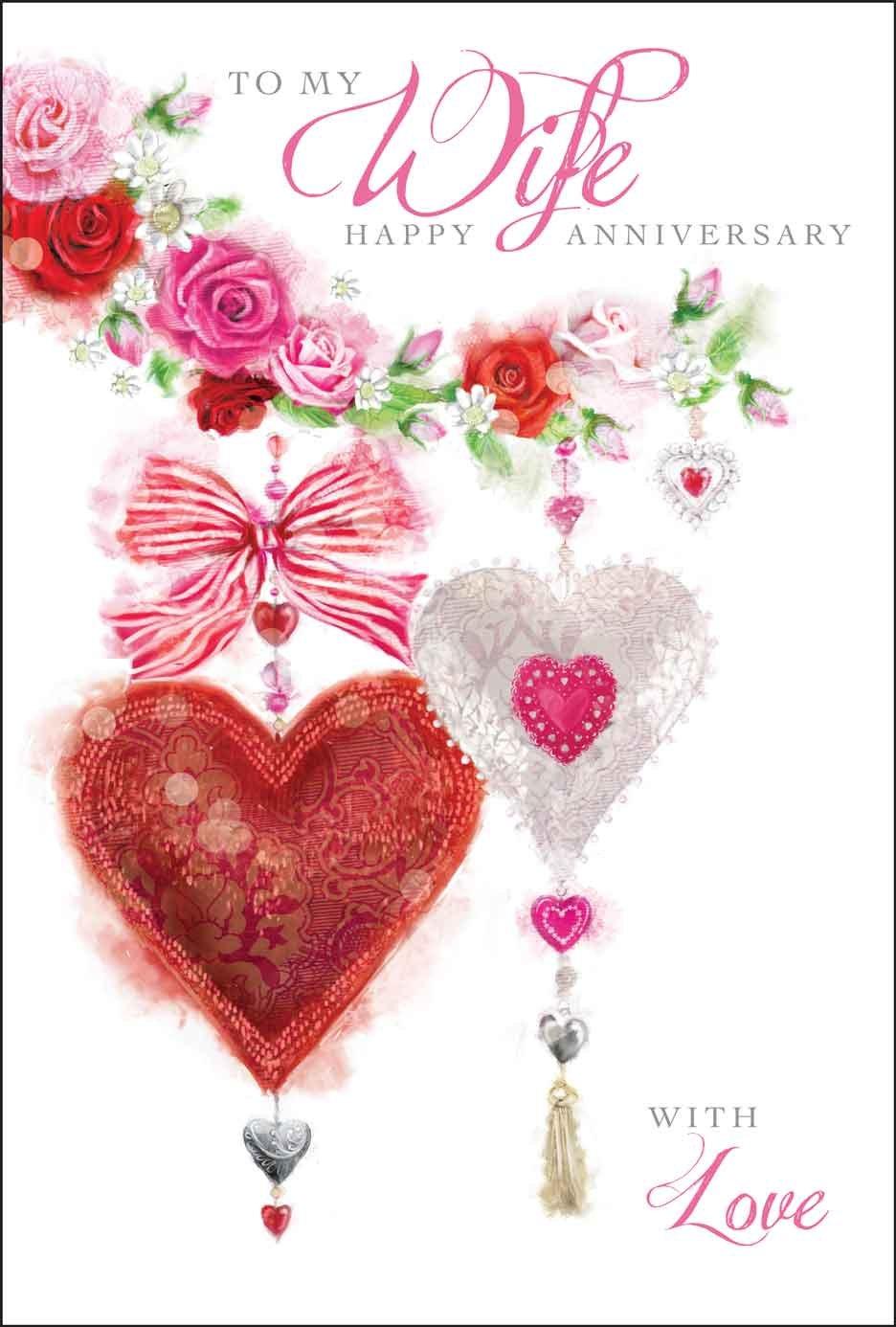 Jonny Javelin Love Hearts Wife Wedding Anniversary Card Amazon
