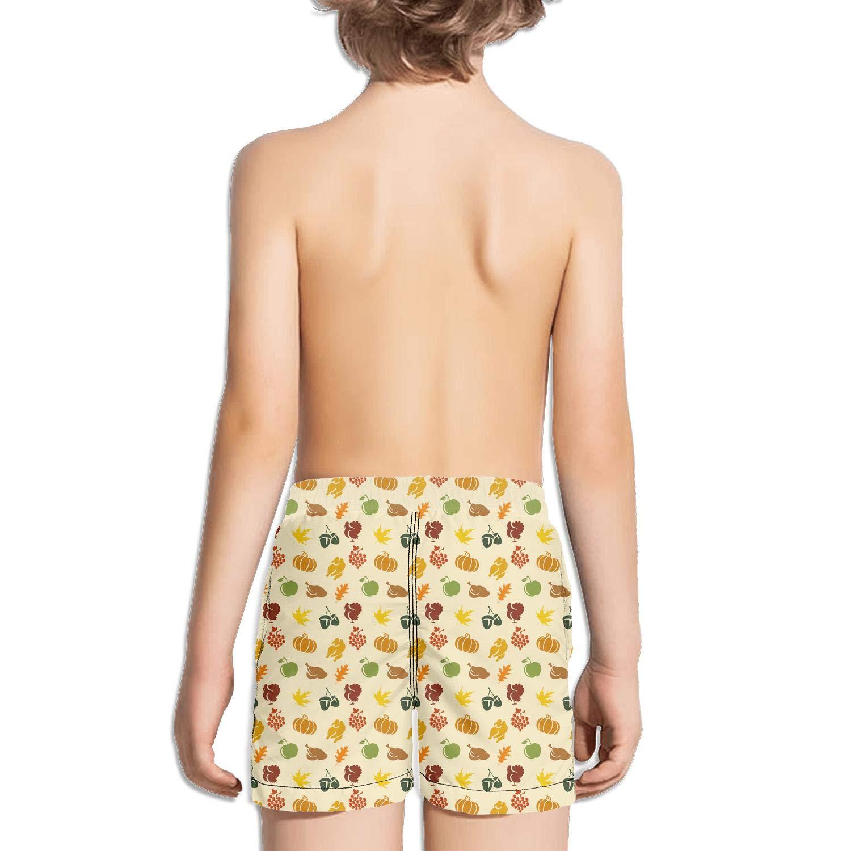ddasqas Thanksgiving Holiday Texture Kid Boys Swim Shorts Bathing Suits