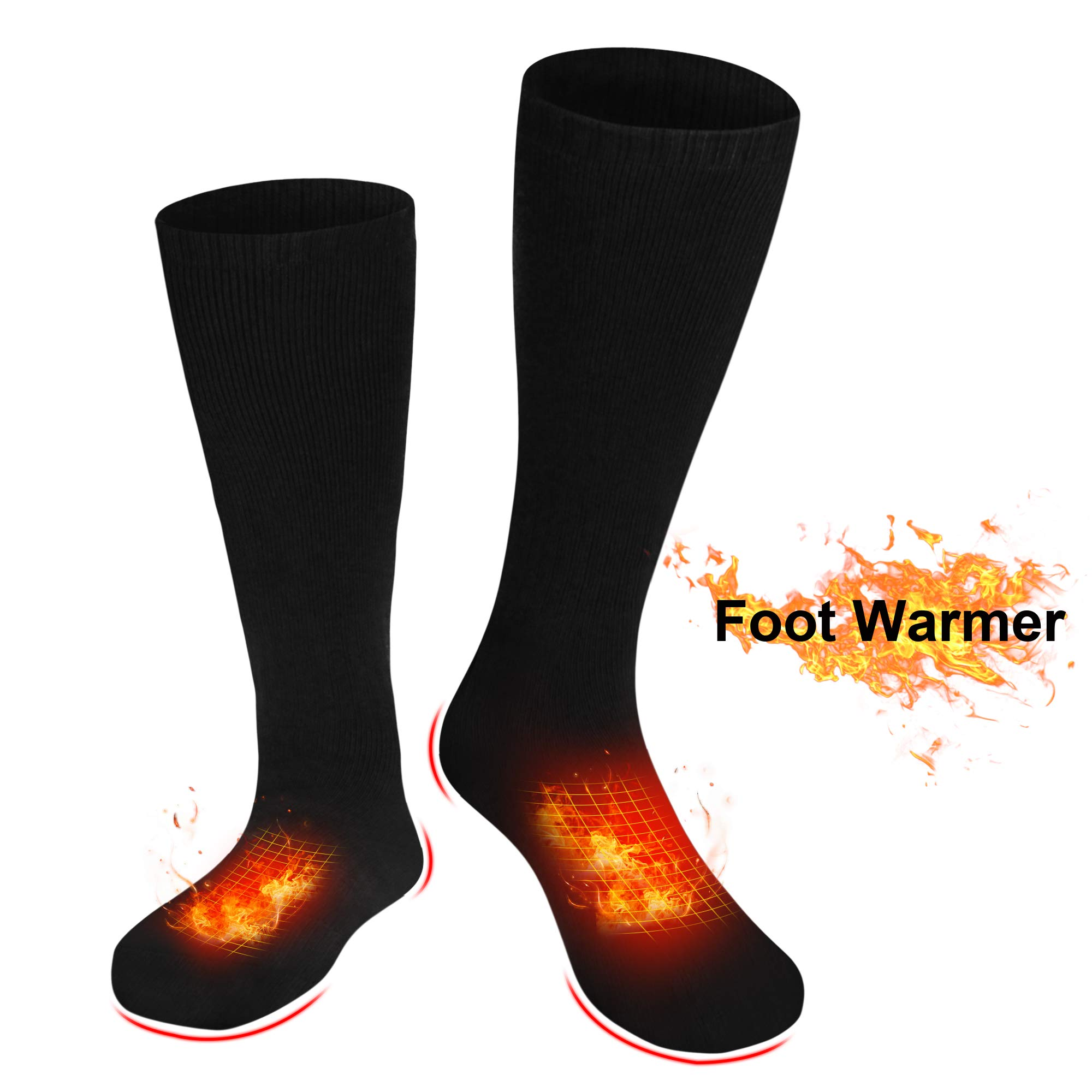 IFWATER Electric Heated Socks for Women Men, Rechargeable Electric Socks Battery Heated Socks Foot Warmer for Chronically Cold Foot, Skiing Hiking Warm Socks (Black, L) by IFWATER